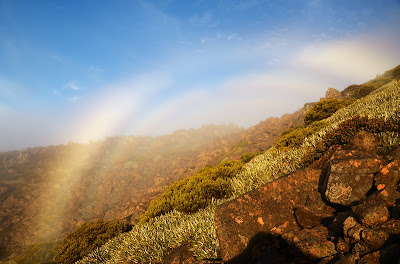 My own personal triple-rainbow appeared just above me in the misty morning air, Nevada Peak - 7th May 2011