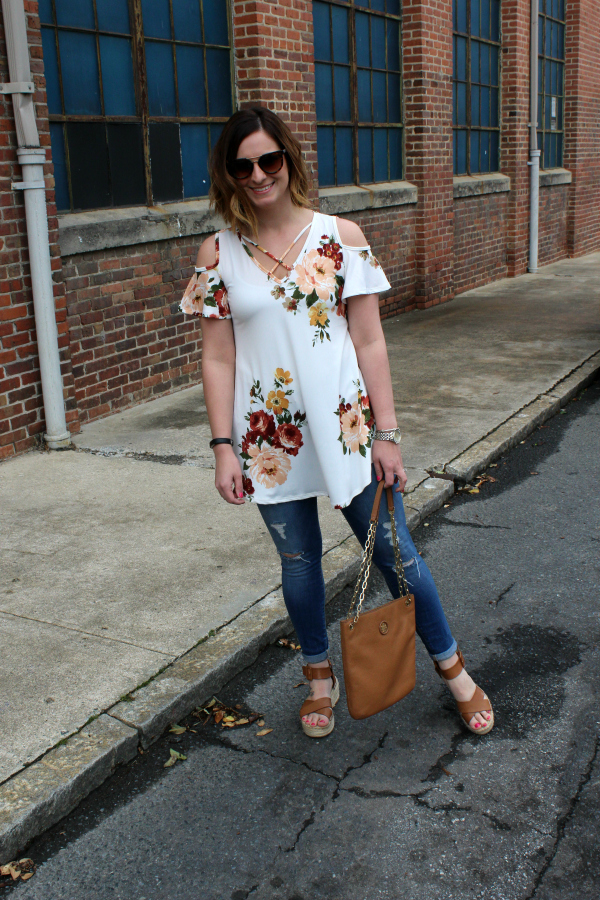 simple addiction, floral top, spring style, style on a budget, casual style