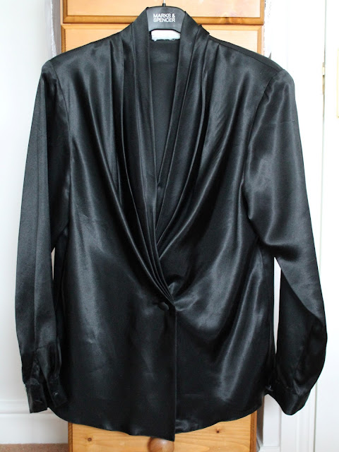for sale 1980s black evening blouse via lovebirds vintage