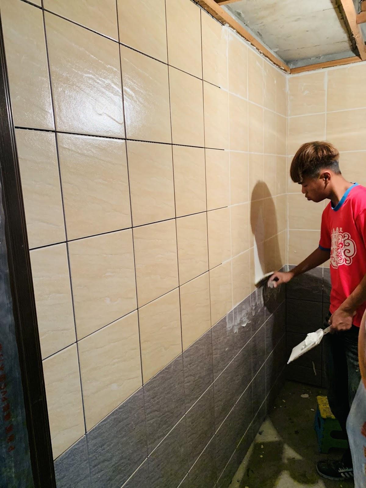 浴室牆壁磁磚-填縫