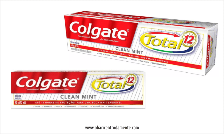 Comparação entre embalagens de creme dental