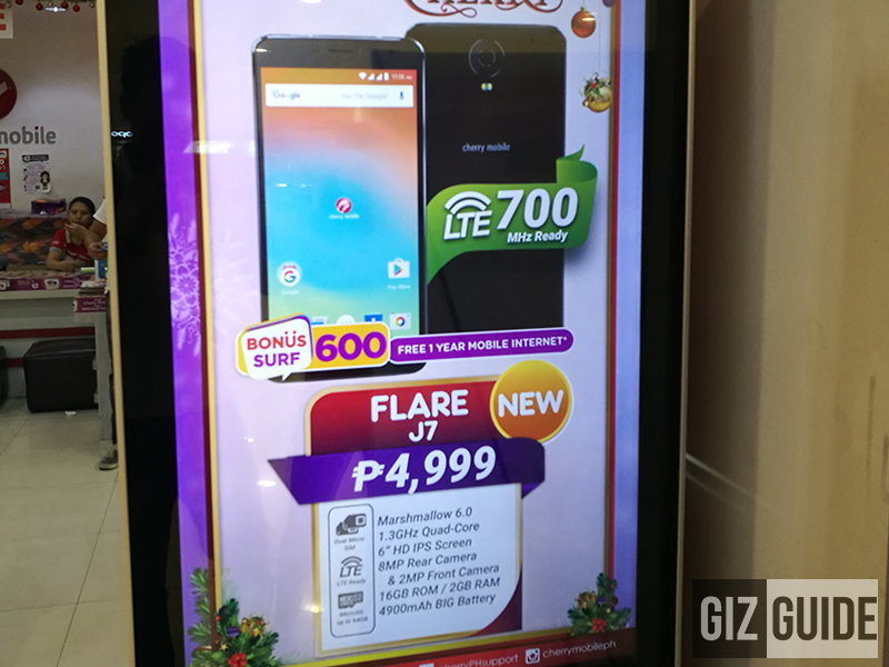 Cherry Mobile Flare J7 With 6 Inch Screen, 4900 mAh Battery, And 700 MHz LTE Is Priced At PHP 4999 Only!