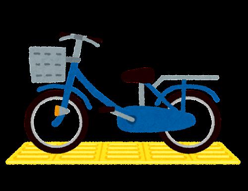 点字ブロックの上に停まった自転車のイラスト