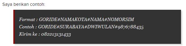 Daftar Gojek Lewat sms