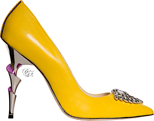 Brilliant Luxury♦Lhoradon Lady Julia yellow heel with Swarovski embellishments on the toe