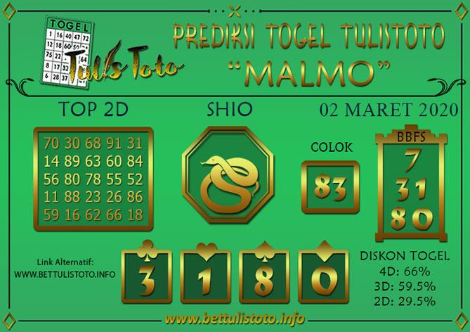 Prediksi Togel MALMO TULISTOTO 02 MARET 2020