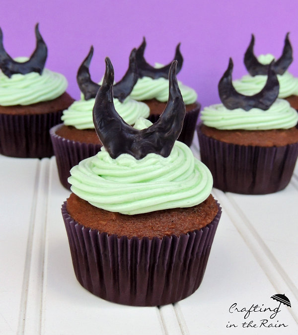 Maleficent cupcakes with green frosting