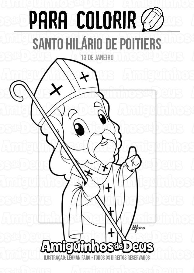 Santo Hilário de Poitiers desenho para colorir