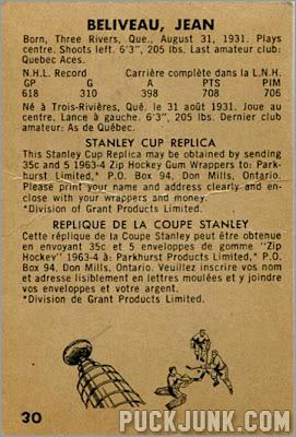 1963-64 Parkhurst #30 - Jean Beliveau