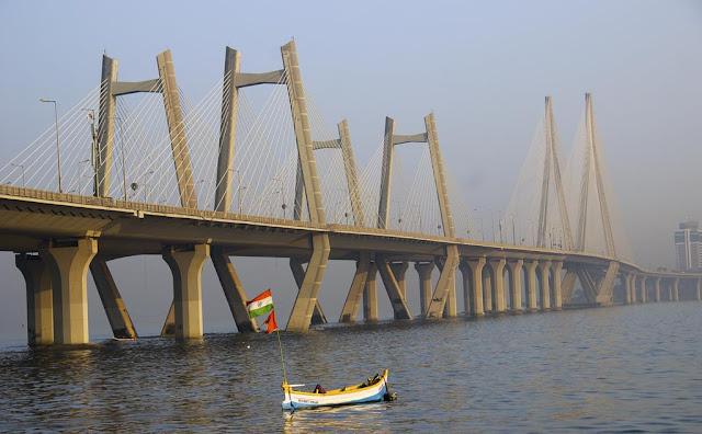 bwsl, bandra worli sea link, worli pier, jetty, mumbai, arabian sea, boat, flags, india,