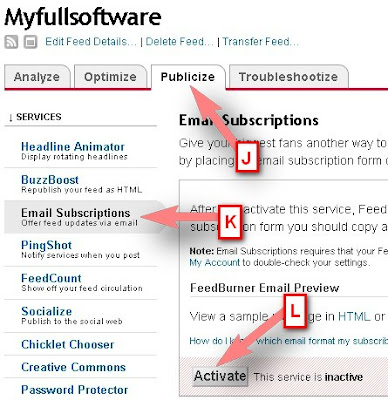 Use FeedBurner Email Subscription