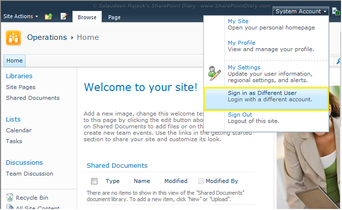 sharepoint sign in as different user problem
