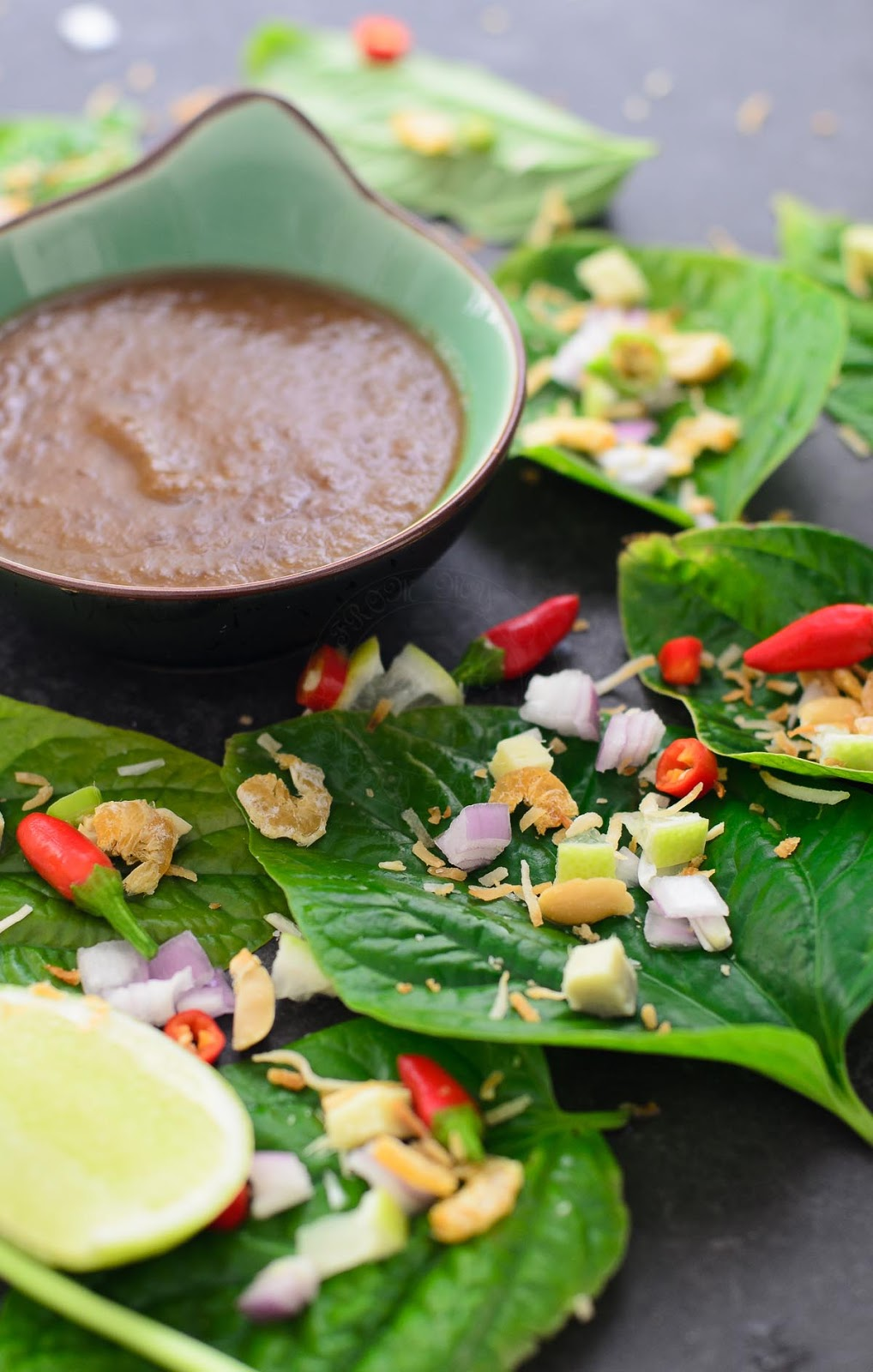 Miang Kham or Thai leaf wrap salad bite