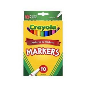 Bộ Bút Lông 10 Màu Nét Mảnh Cho Bé Crayola Markers Hàng Mỹ Xách Tay