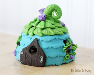 Blue Fairy House with Green Leaves roof