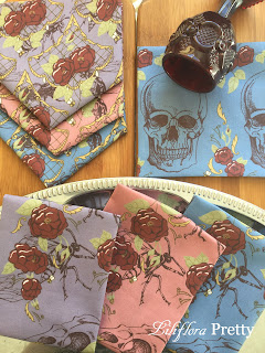 spoonflower repeat pattern roses wasps skulls paisley