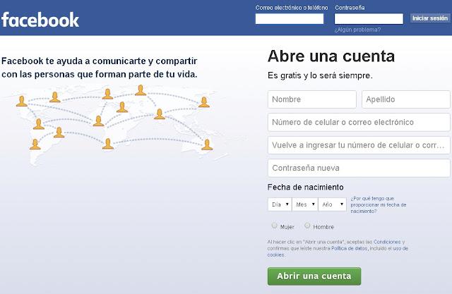 Crear una cuenta en Facebook - Solo Nuevas