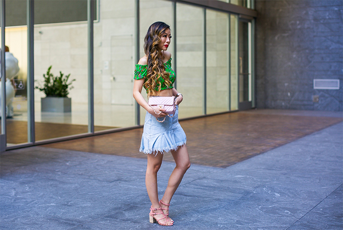 Topshop Floral Off the Shoulder Crop Top, Topshop Moto Asymmetrical Hem Denim Skirt, chanel classic flap bag, baublebar earrings, Matisse Coconuts by Matisse Cora Sandal, pink sandals, spring outfit ideas, san francisco street style, san francisco fashion blog