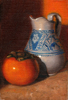 Oil painting of a persimmon beside a white porcelain jug with blue pattern.