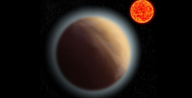 Artist's impression of the exoplanet GJ 1132 b, which orbits the red dwarf star GJ 1132. Astronomers have managed to detect the atmosphere of this Earth-like planet. Image: MPIA