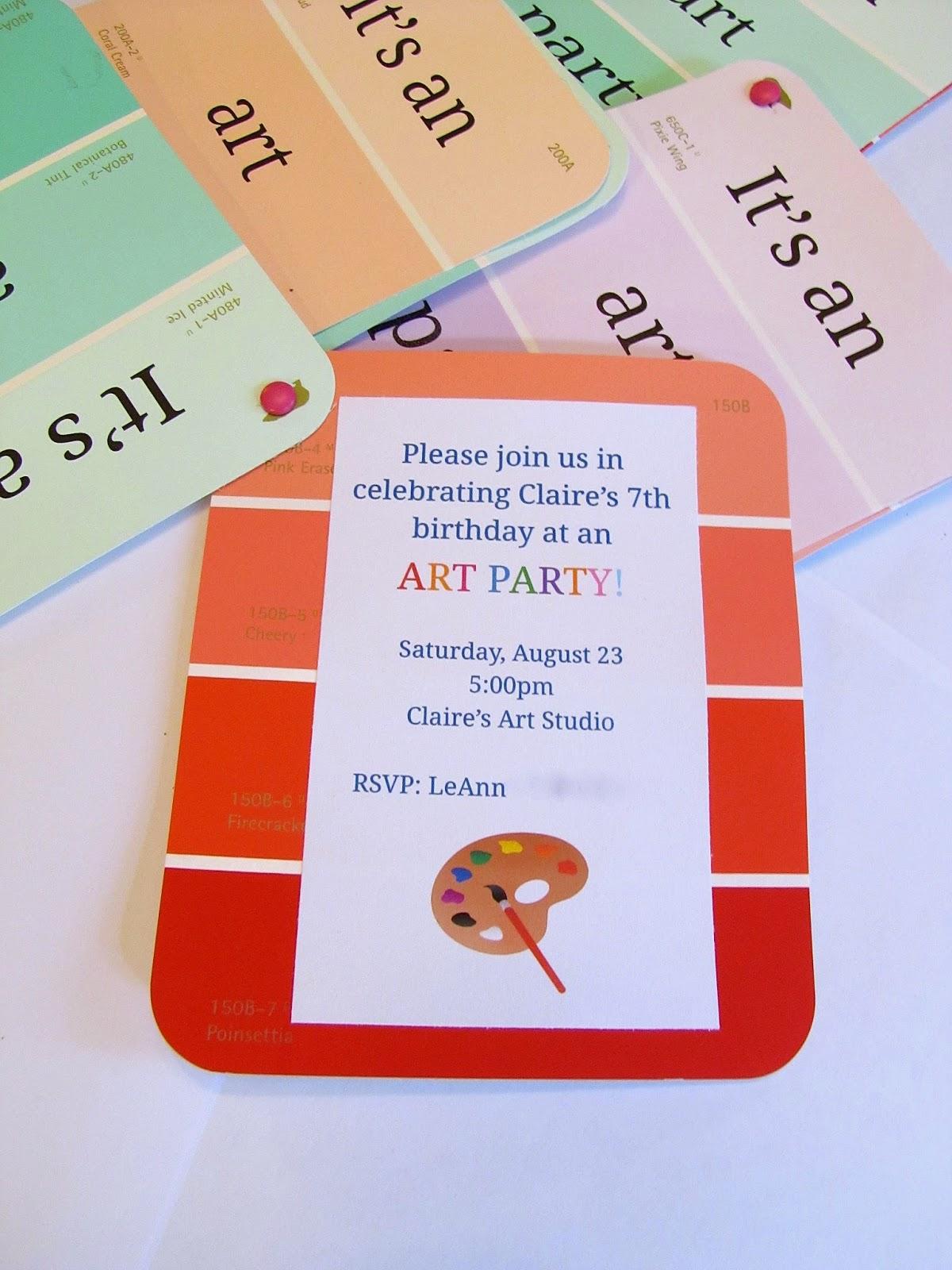 diy art party invitations