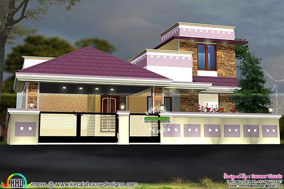 Colorful modern Tamilnadu home