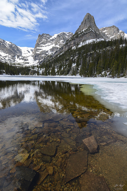 Photograph of Notchtop Mountain reflecting in Odessa Lake in Rocky Mountain National Park RMNP