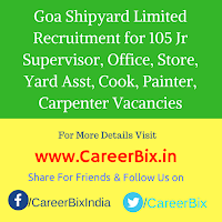 Goa Shipyard Limited Recruitment for 105 Jr Supervisor, Office, Store, Yard Asst, Cook, Painter, Carpenter Vacancies
