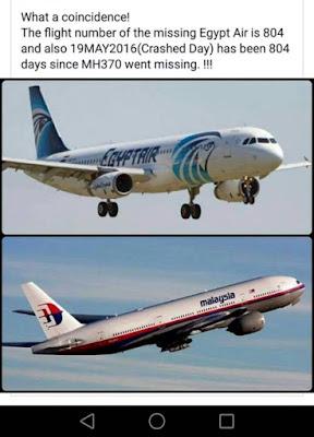 Genap 804 hari selepas kehilangan MH370, kapalterbang Egypt Air 804 pulak jadi mangsa..