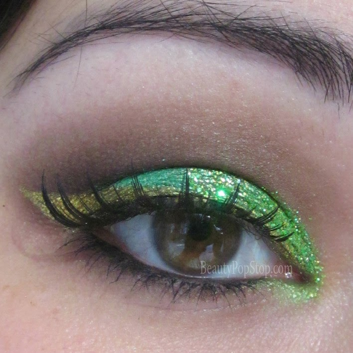 st patrick's day makeup tutorial using sugarpill and lit cosmetics glitter