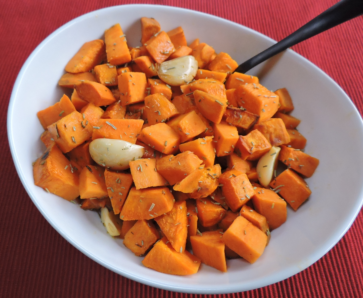 Baked Garlic Sweet Potatoes