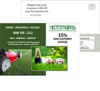 lawn care plastic postcard