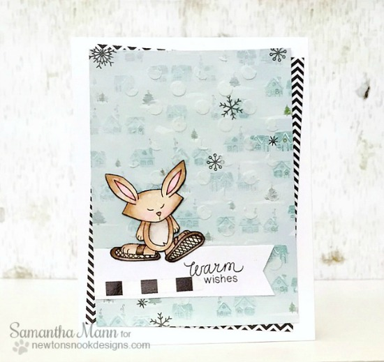 Snowshoe bunny cards by Samantha Mann | Snow Day Stamp set by Newton's Nook Designs #newtonsnook