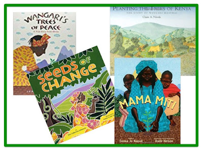 Covers of books about Maathai