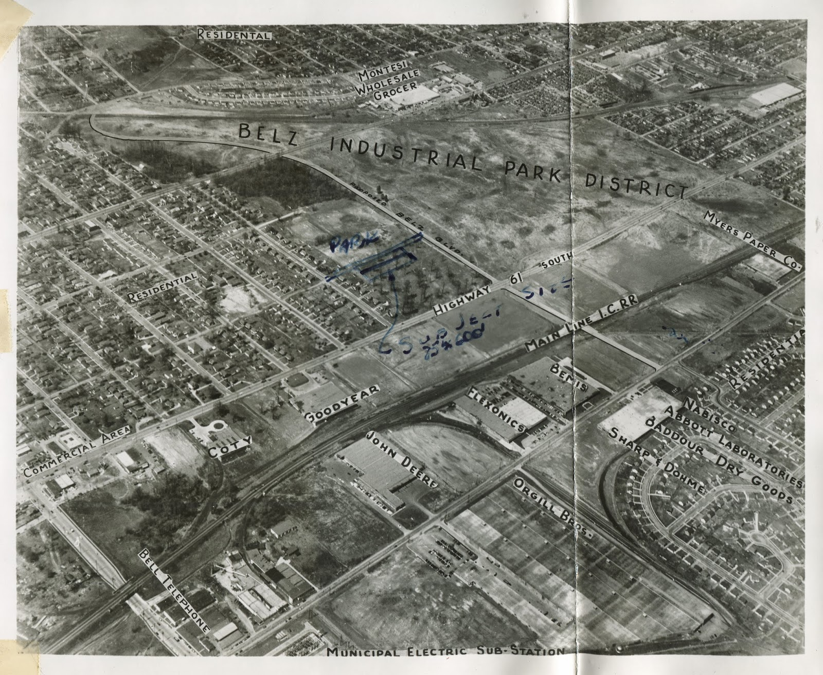 63102dfa This aerial from the time the shopping center was planned shows the  still-developing Belz Industrial Park District at the intersection of South  Third ...