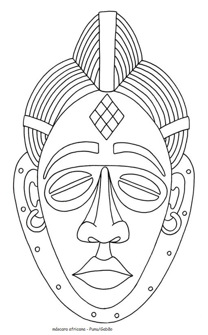 Blog do professor eduardo m scara africanas para pintar for Printable african masks coloring pages