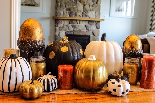 fall centerpiece with DIY painted pumpkins