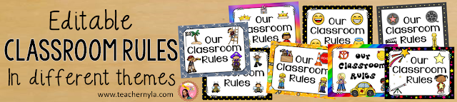 Editable classroom rules in different themes