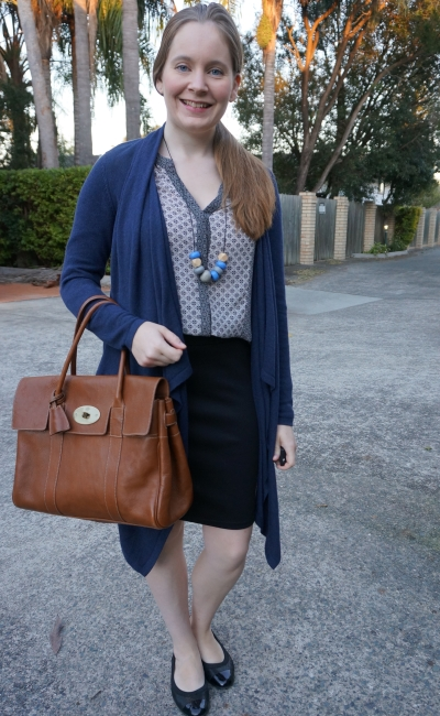 navy cardigan and mixed print shirt with pencil skirt and mulberry bayswater autumn office outfit | away from blue