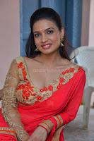 Bhimbika in Red Orange Saree at Sikhandi Movie Launch Spicy Pics 14.jpg