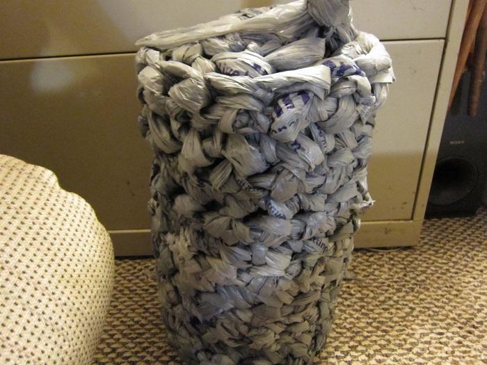 wip, work in progress, plarn, rug, finger crochet