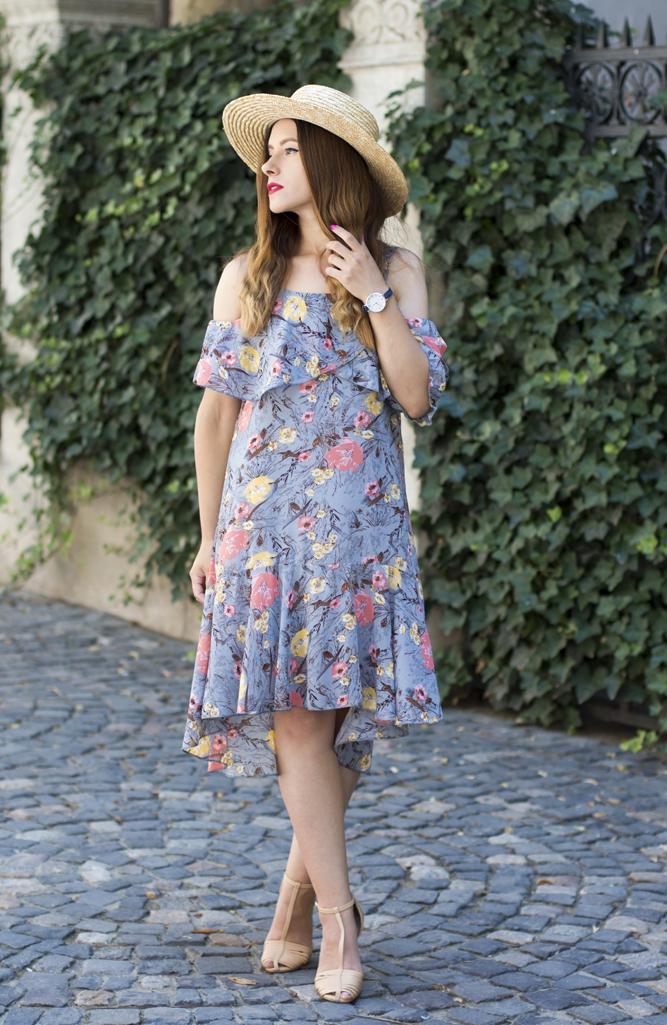 adina nanes floral dress straw hat