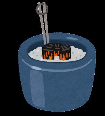 火鉢のイラスト(炭あり)