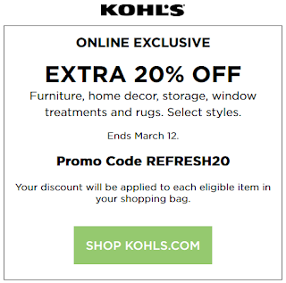 Kohls coupon 20% Off Furniture, Home Decor and Rugs