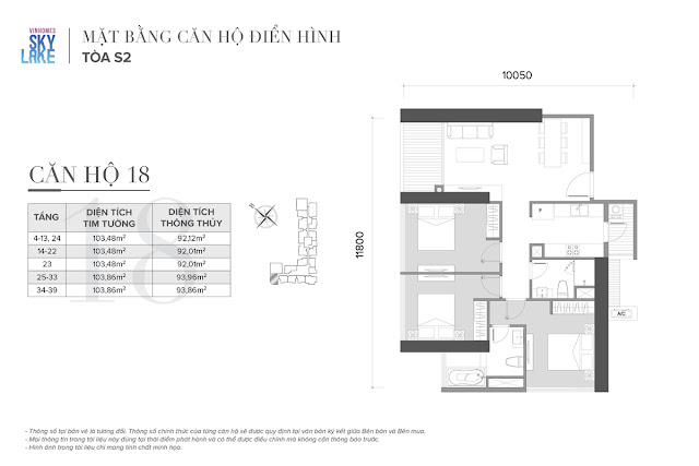 Mặt bằng căn hộ 18 tòa S2 Vinhomes Skylake