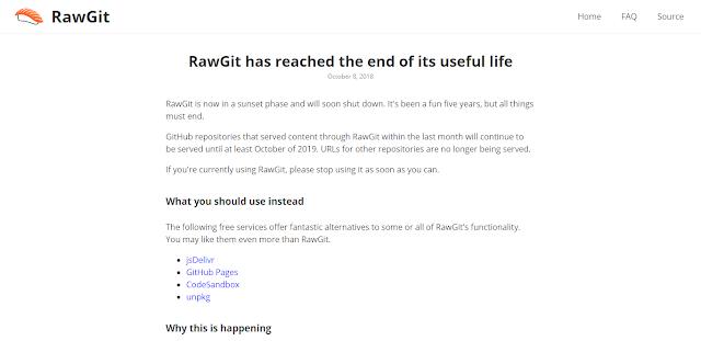 penghentian layanan Rawgit