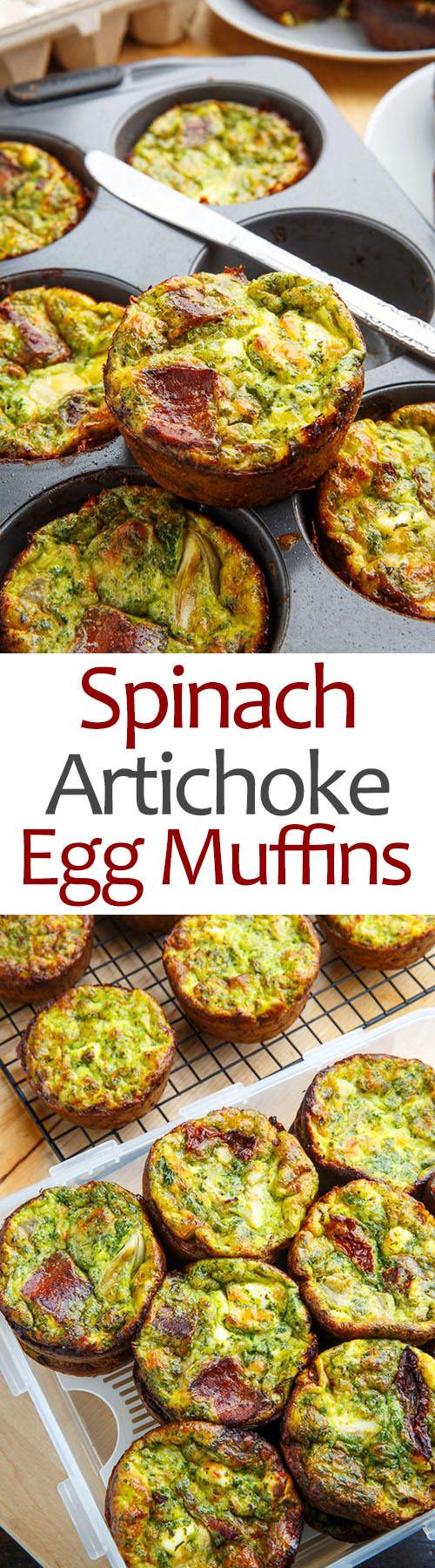Spinach and Artichoke Egg Muffins with Bacon