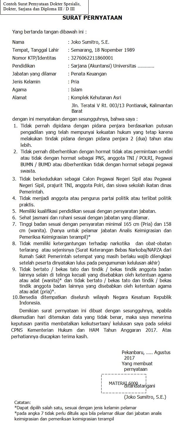 Contoh Surat Pernyataan CPNS Kementerian Hukum dan HAM