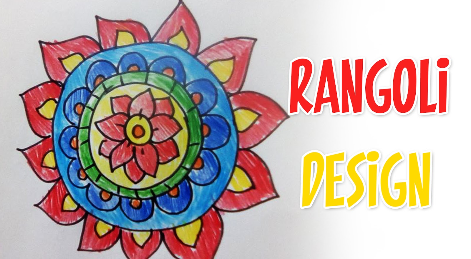 Making rangoli designs using pencil colors easy drawings