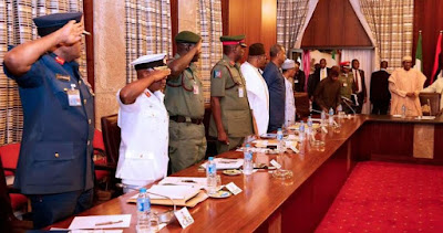 Buhari Resumes Work, Meets Security Chiefs
